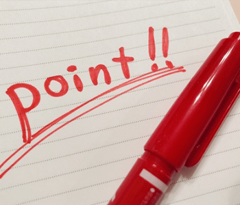 point!!と書かれたノートの写真