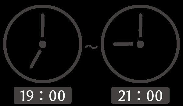 19時00分から21時00分の秒針