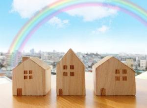 街並みと虹