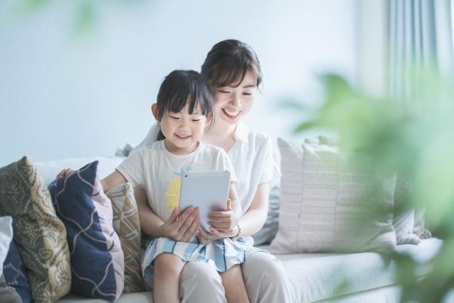 親子で学習する様子